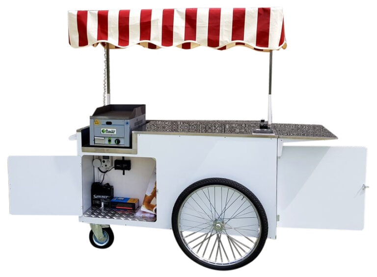 carrello spinta street food fry top gas